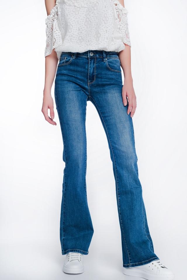 Skinny fit met hoge taille flare jeans met authentieke wassing