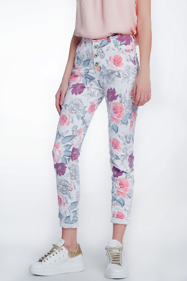 witte boyfriend jeans met bloemenprint
