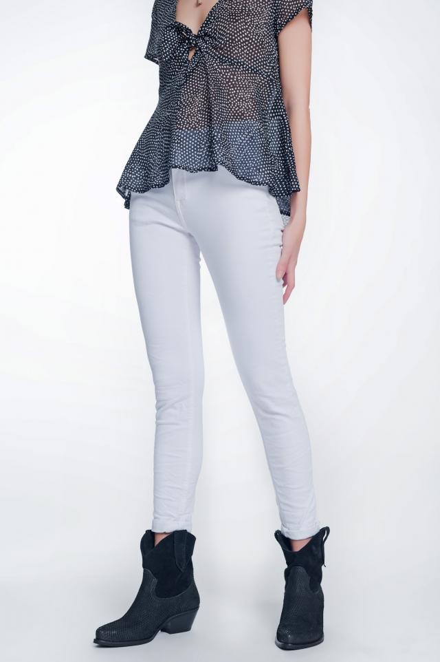 witte skinny jeans met hoge taille