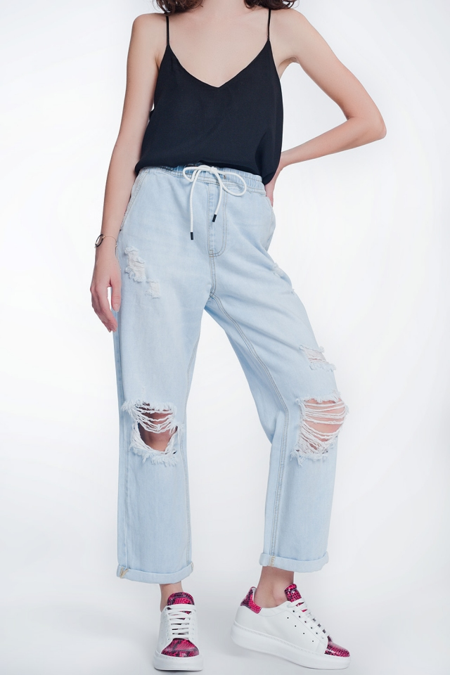 Rechte cropped jeans in lightwash blauw
