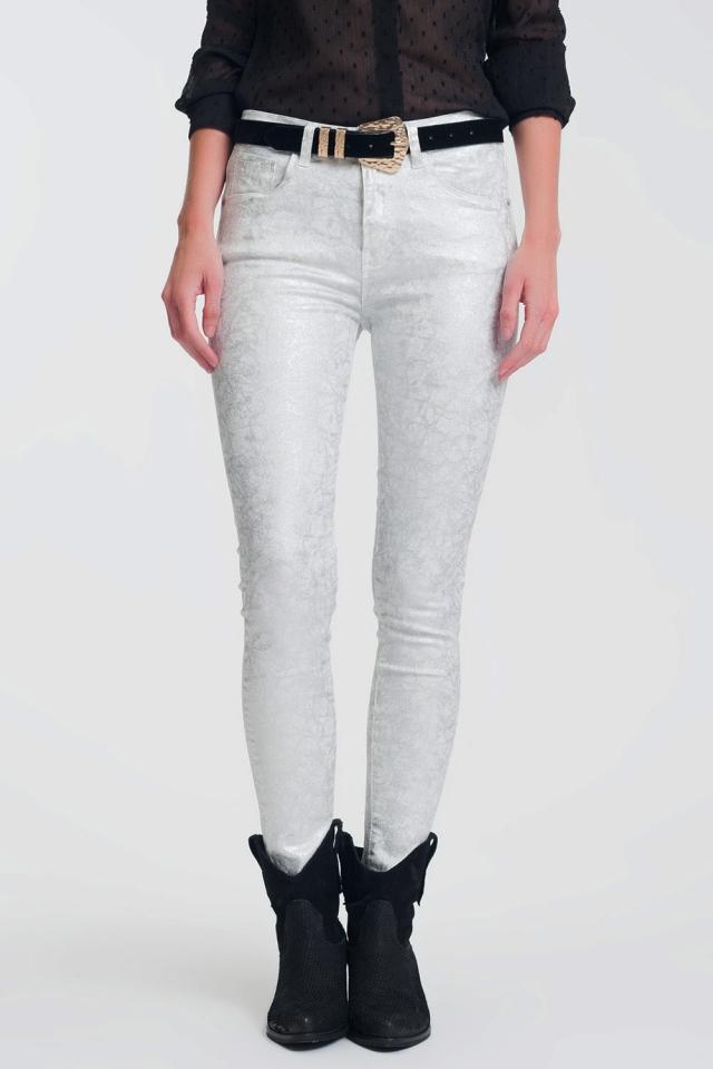 Skinny broek met superstretch met zilveren print