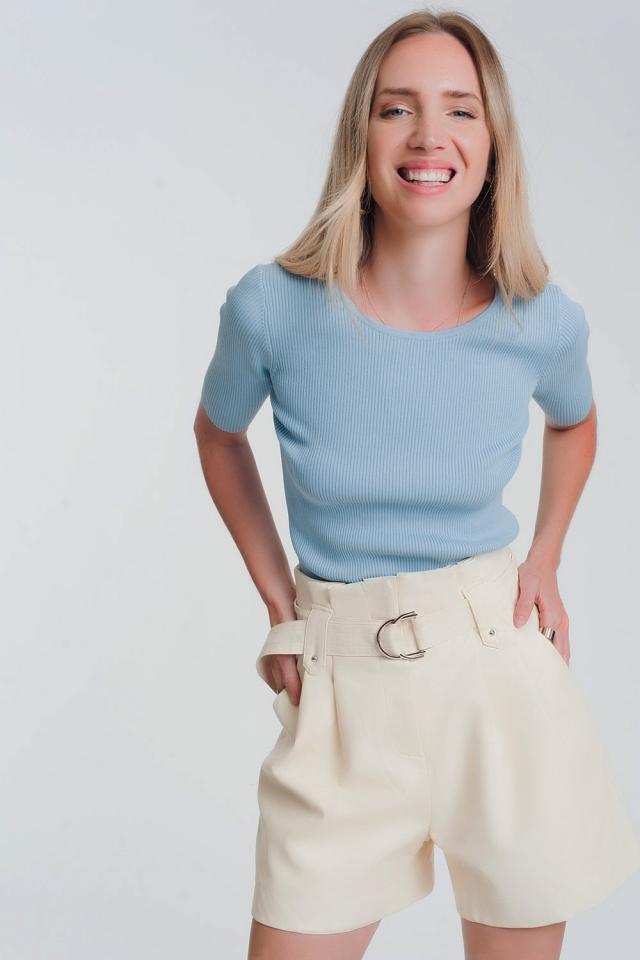 Gebreide trui met strik aan de achterkant in Blauwe