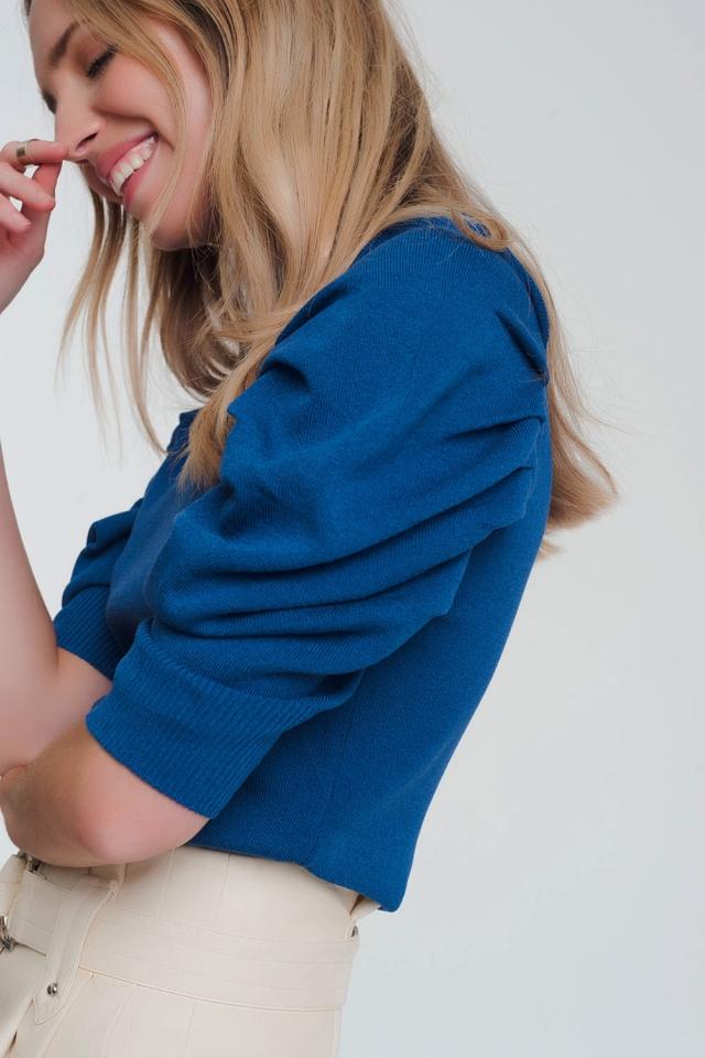 Blauwe  Gebreide trui met pofmouwen