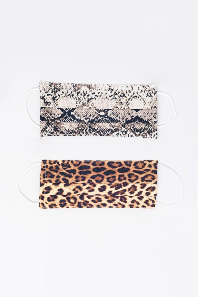 2 PACK Python en Leopard Print Mask