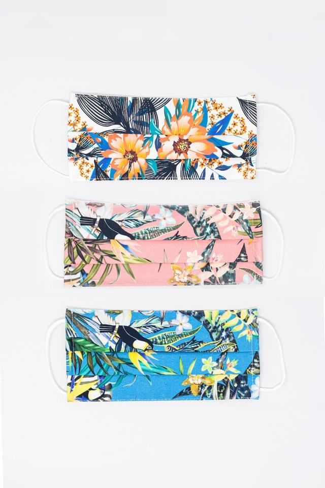 3 PACK Mix kleur tropisch printmasker