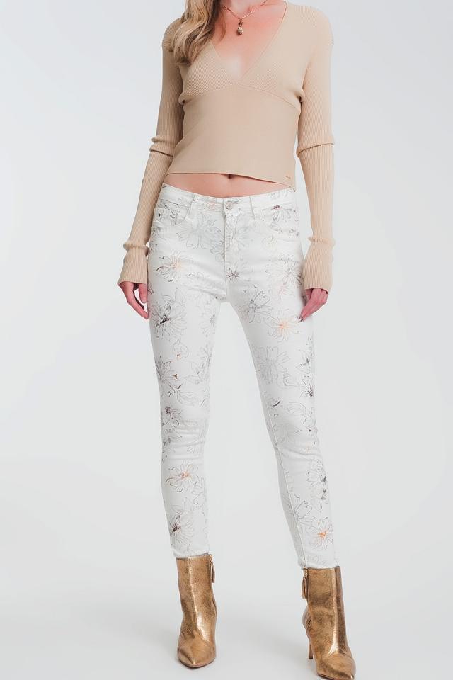 Witte super skinny Broek met bloemenprint