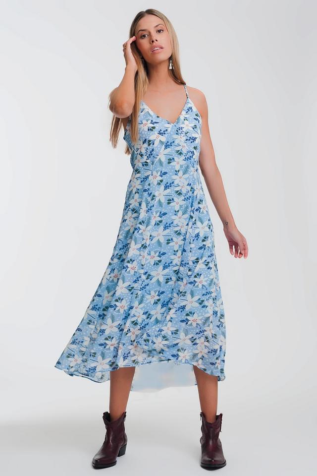 Lange jurk met cami band en bloemenprint in blauw