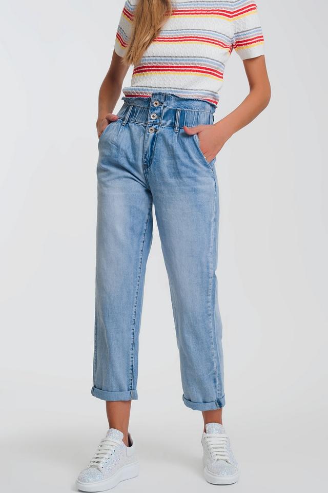 Lichte denim rechte jeans met grote taille band detail
