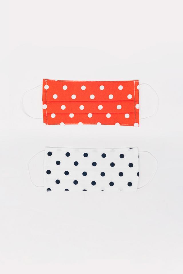 2 PACK Polka Dot wit en rood masker