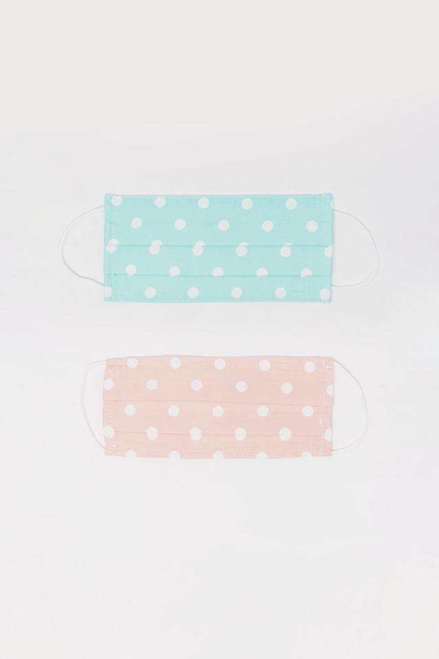 2 PACK Polka Dot blauw en roze masker