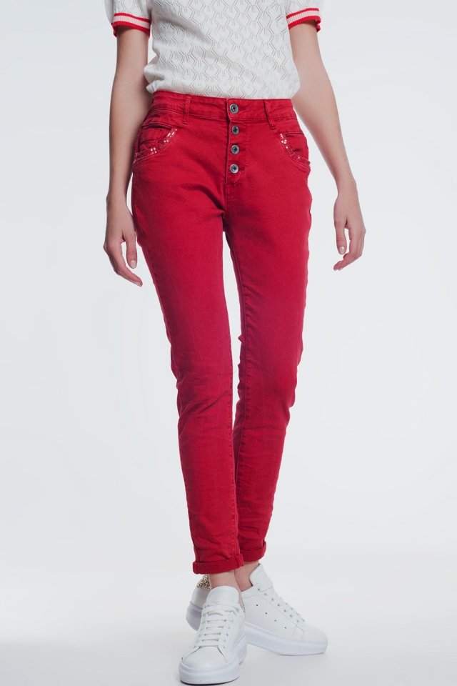 Rood boyfriend broek met pailletten zak detail