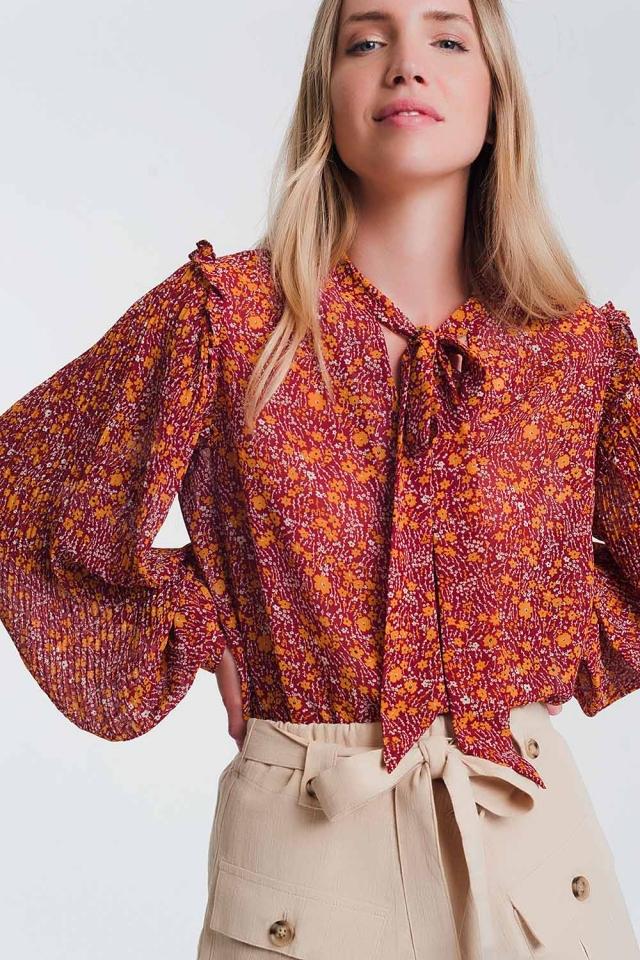 Aangerimpelde chiffon blouse met ruches en bloemenprint