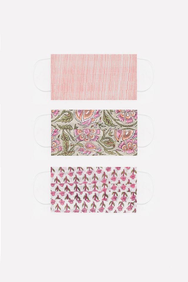 3 PACK Bio-Baumwollmaske mit pinkem Aufdruck