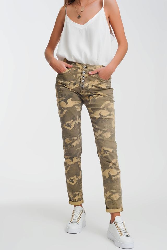 Boyfriend broek met camouflageprint