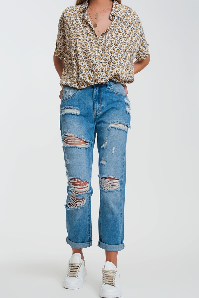 Jeans met rechte pijpen en scheuren