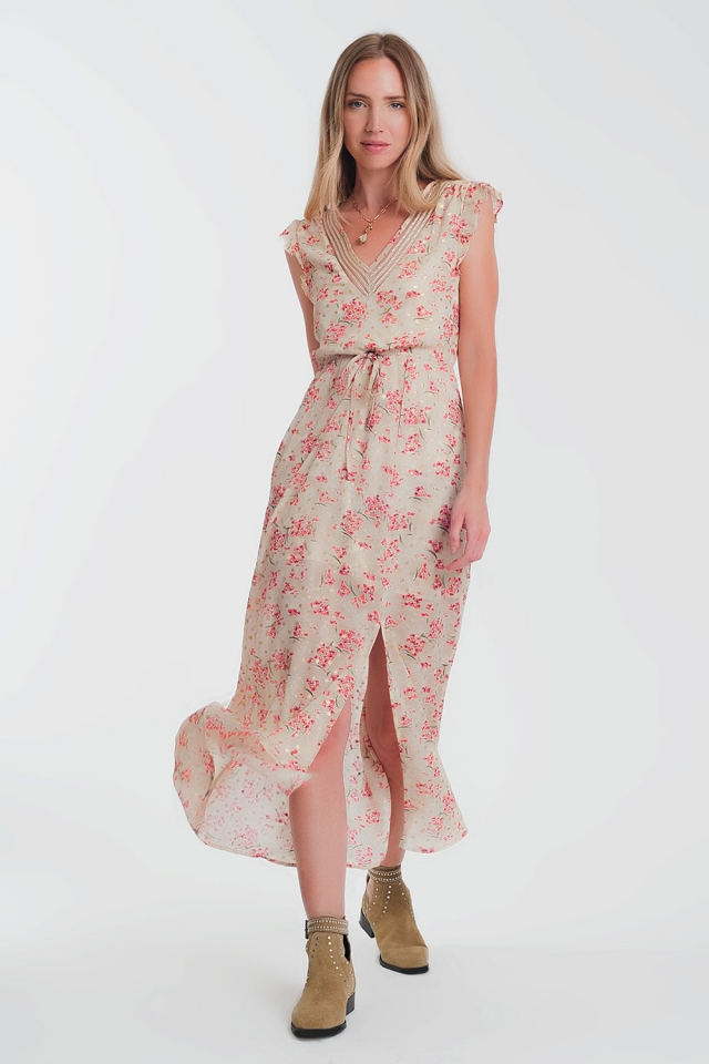 Flower printed chiffon dress