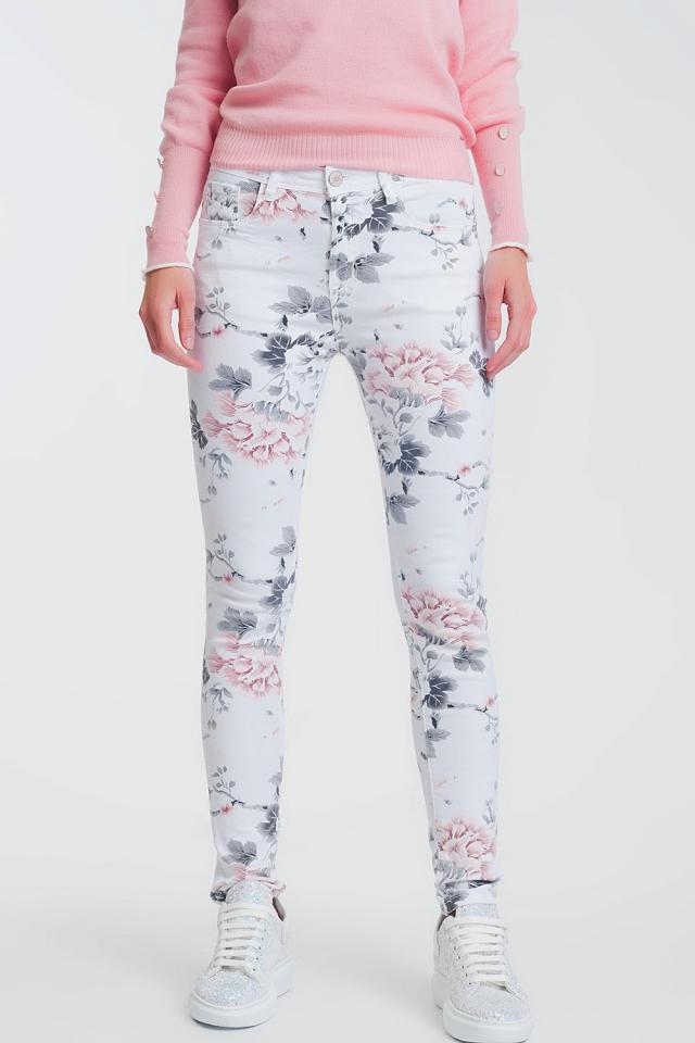 Super skinny broek met witte bloemenprint