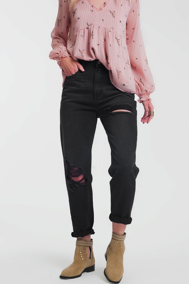 gescheurde zwarte rechte jeans