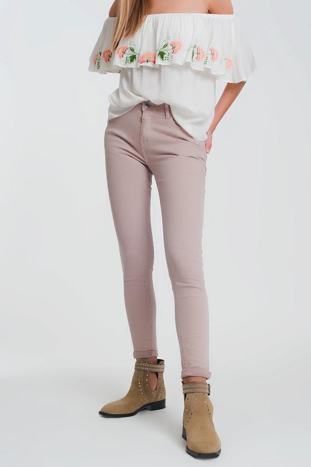 Roze skinny broek met hoge taille