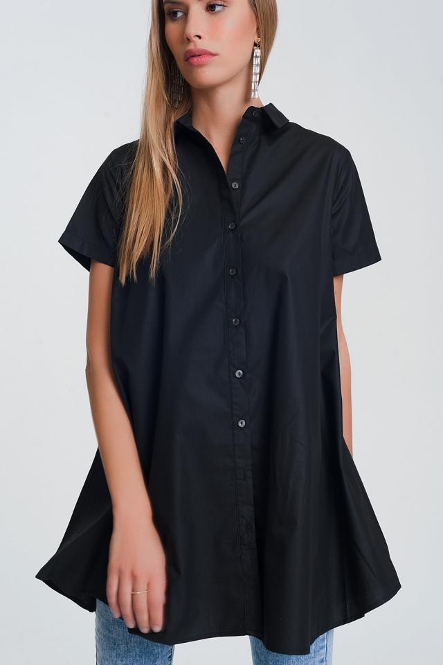 Oversized poplin overhemd in zwart