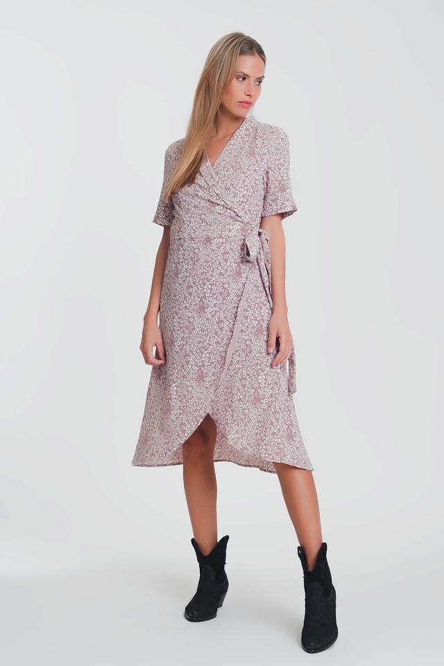 Midi-jurk met overslag en roze bloemenprint