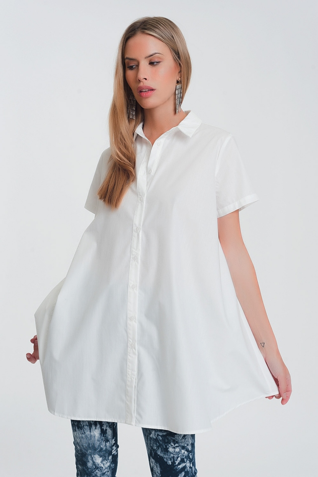Oversized poplin overhemd in wit