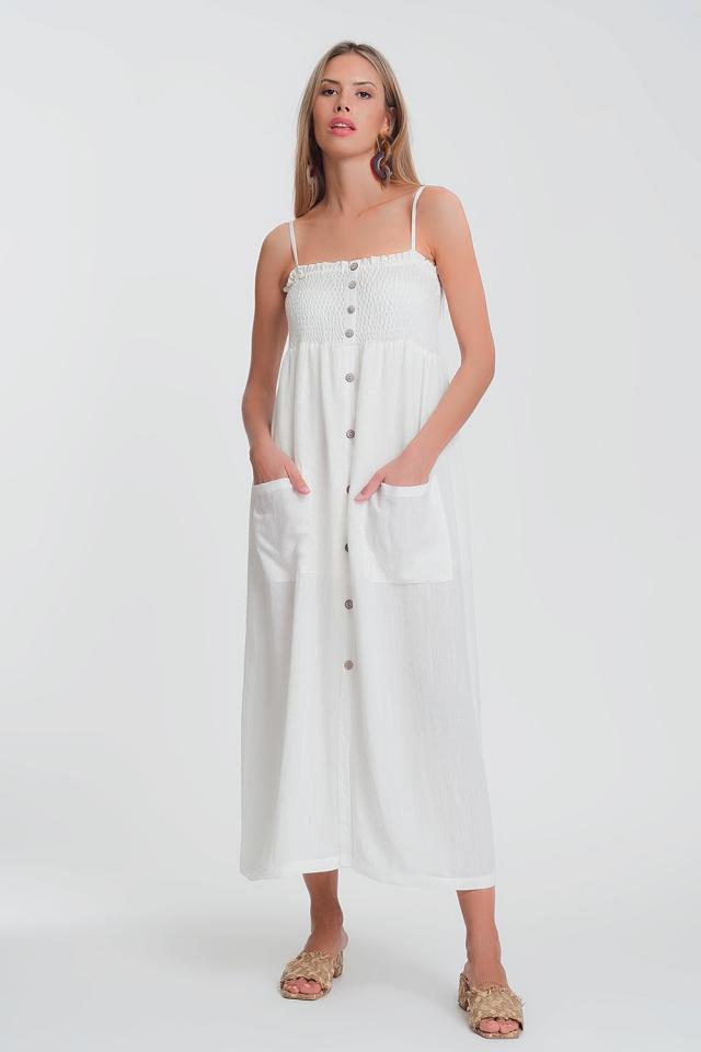 Witte Lange jurk met aangerimpelde buste met zakken