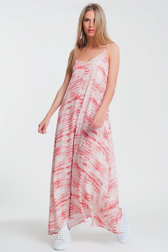 Maxi-jurk van crêpestof met print en gestrikte achterkan
