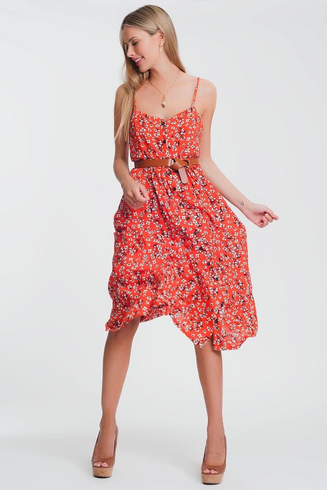 Doorgeknoopte maxi jurk met rood bloemenprint