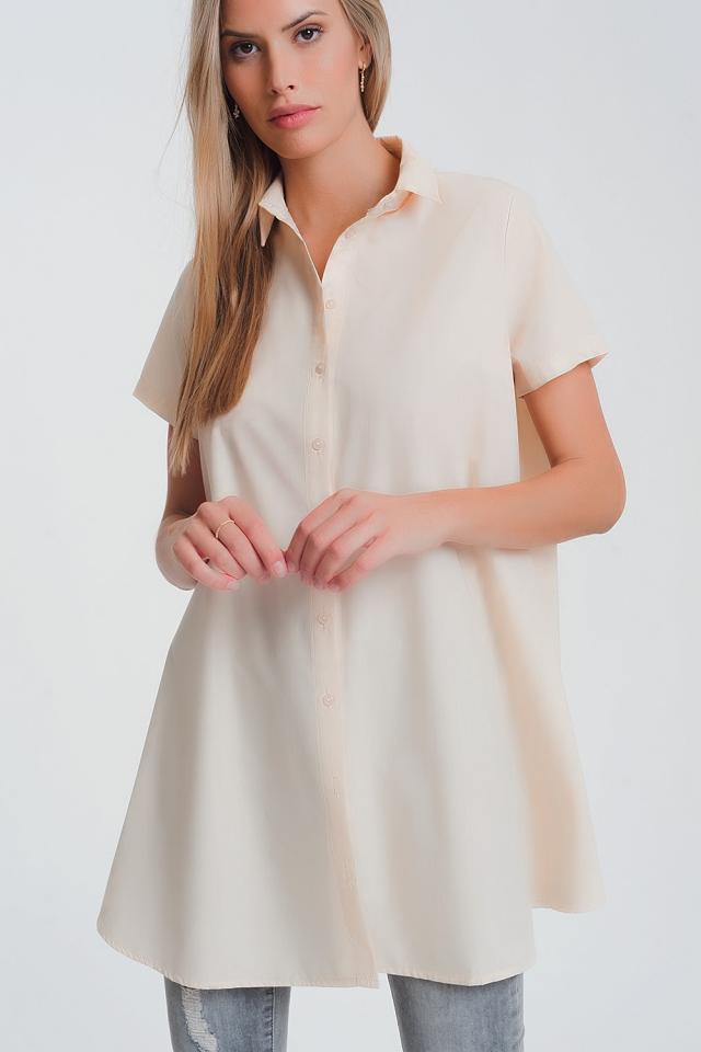 Oversized poplin overhemd in beige