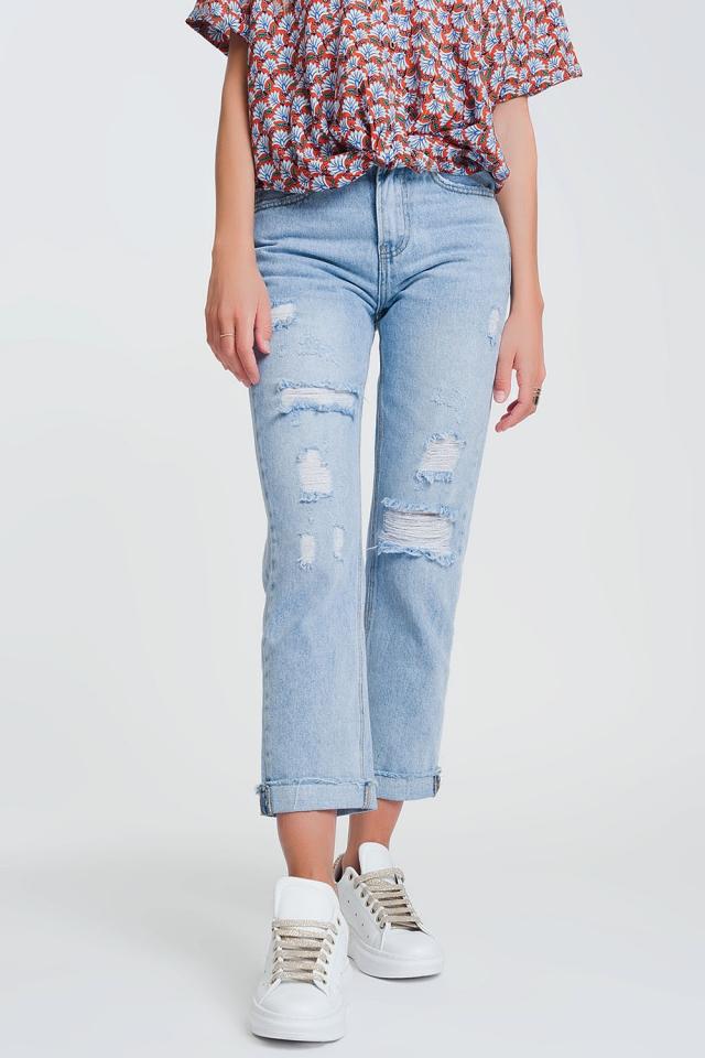 jaren 90 jeans met rechte pijpen en scheuren
