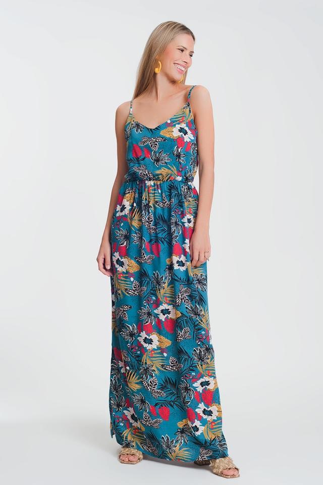 Lange jurk met aangerimpelde taille en bloemenprint