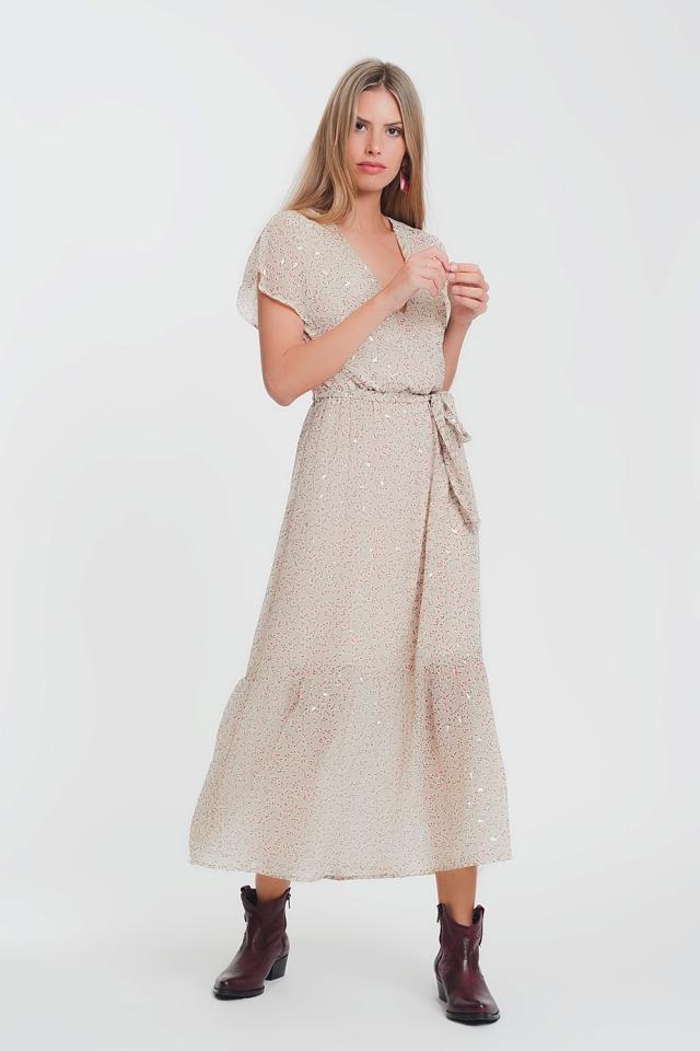 Lange jurk met strikceintuur en fijne bloemenprint