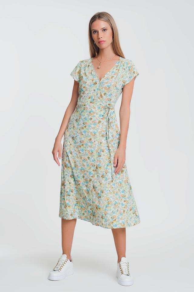 Midi-jurk met overslagen fijne bloemenprint
