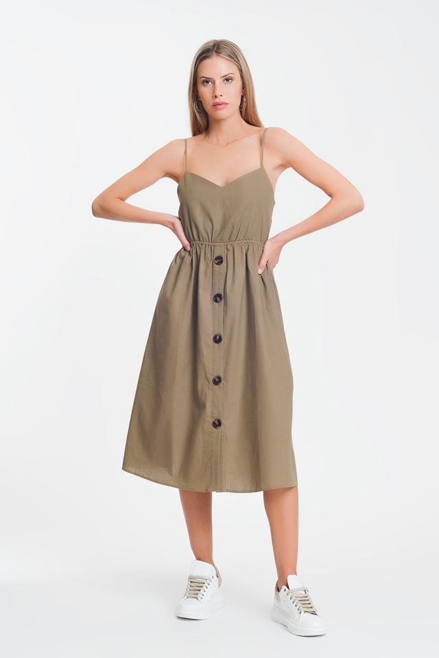 Midi-jurk met knopen in khaki
