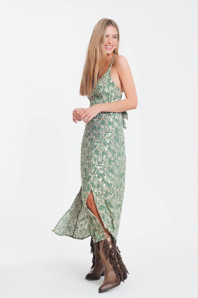 Lange cami jurk met open achterkant en bloemenprint