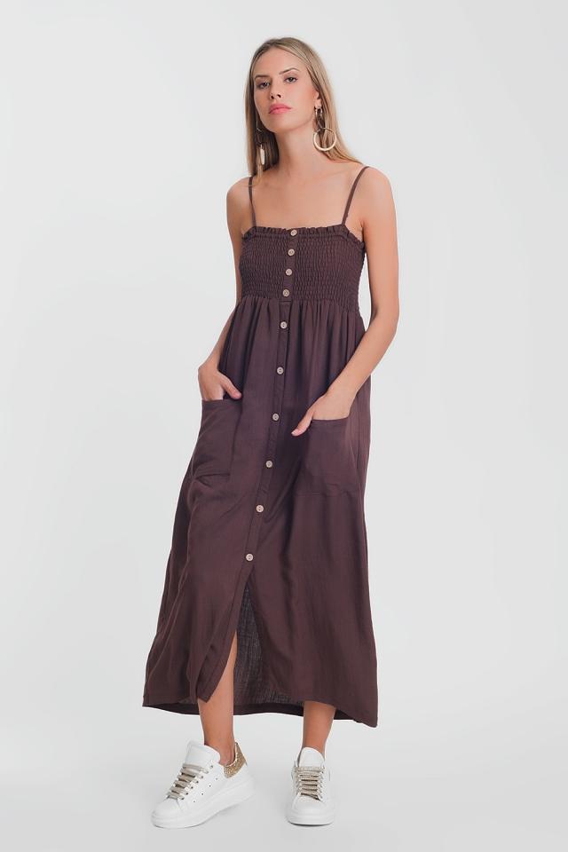 Bruin Lange jurk met aangerimpelde buste met zakken