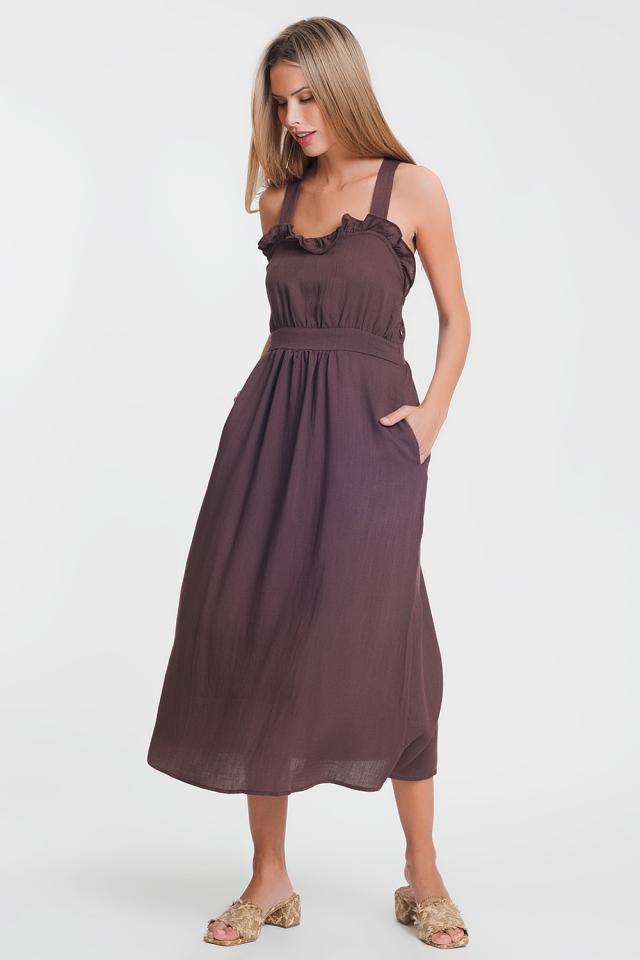Midi-jurk met gekruiste achterkant in bruin