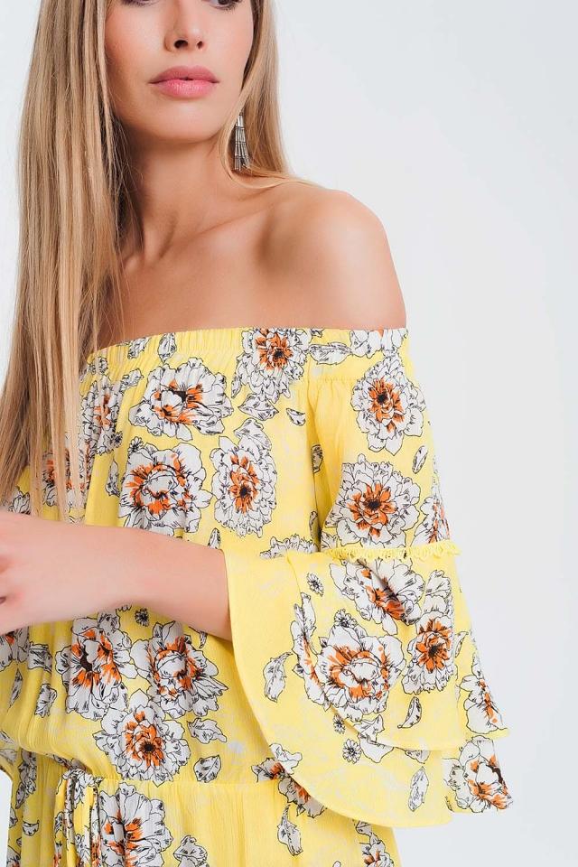 Geel jumpsuit met bloemenprint