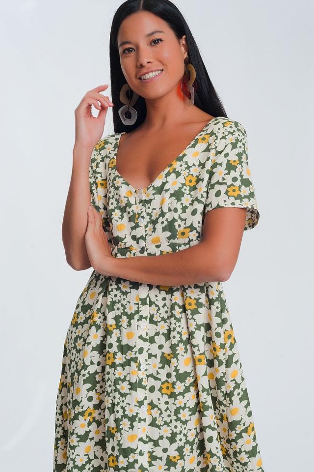 Mini-jurk met groene bloemenprint