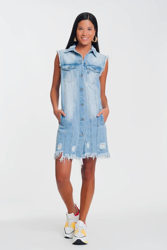 Mouwloze denim jurk in lichtblauw
