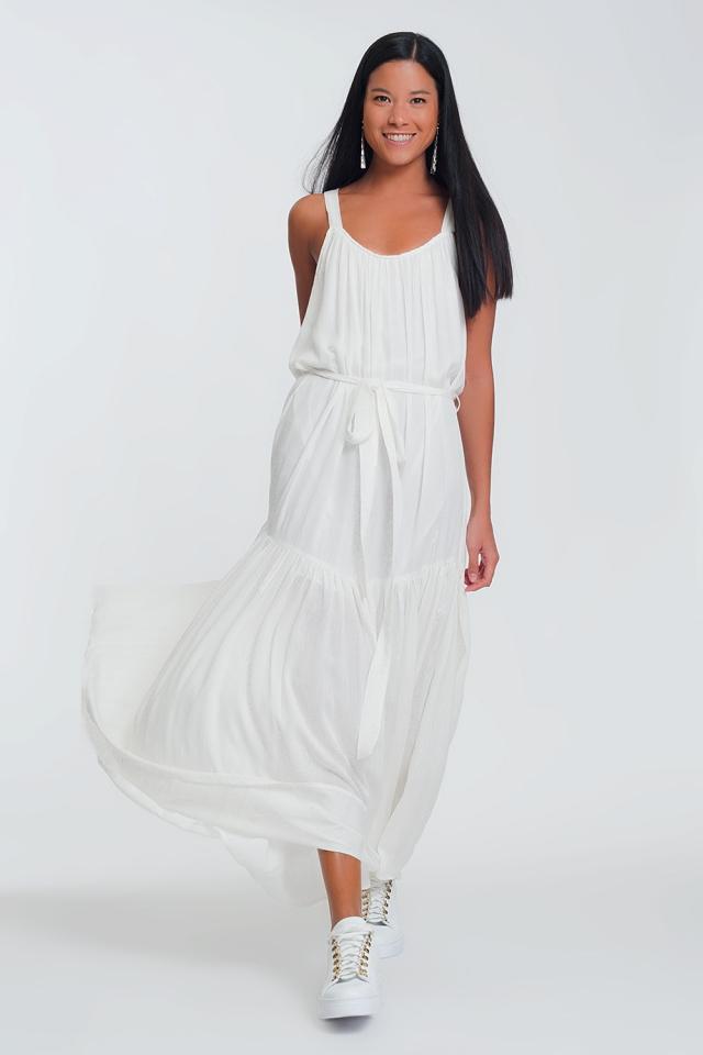 Lange jurk met gekruiste achterkant in wit