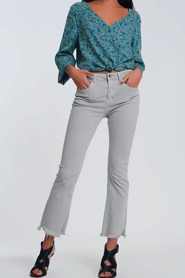 Straight broek in grijs met brede enkels