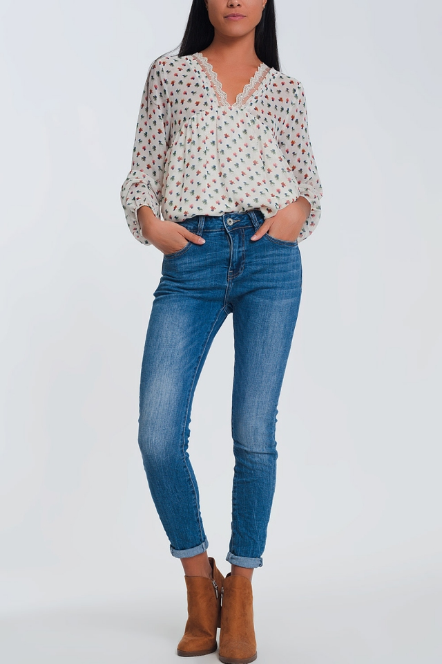 Skinny jeans met normale taille in lichtblauw