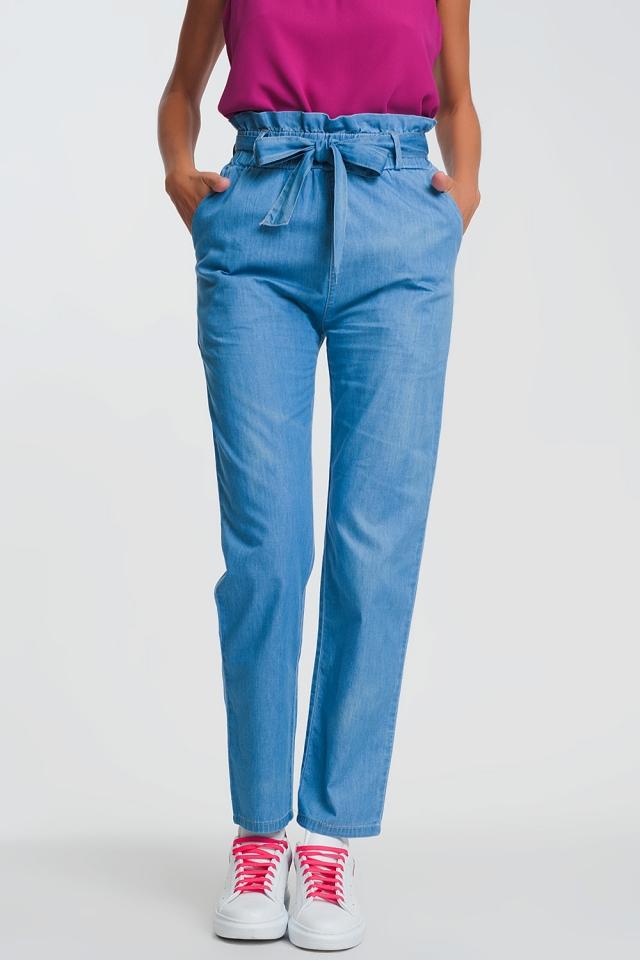 Jeans Lichtgewicht met plooirand en gestrikte taille in lichtblauw