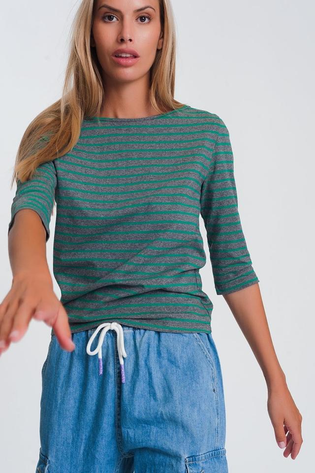 Gestreept overhemd met 3/4-mouw en boothals in groen