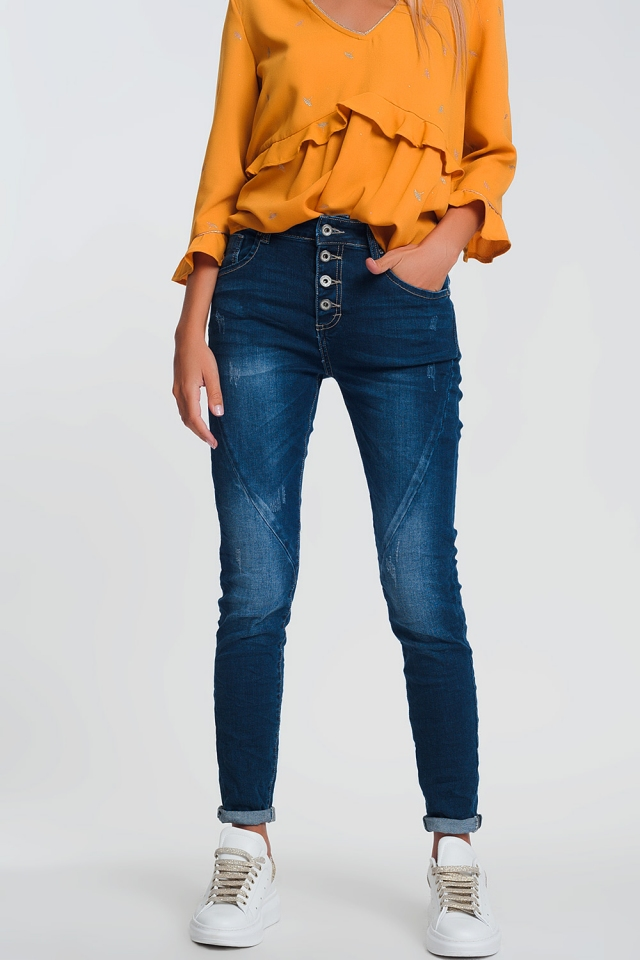 Boyfriend jeans in lichte denim met donkere wassing