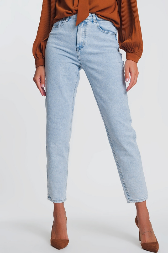 Mom jeans met hoge taille in lichtblauw