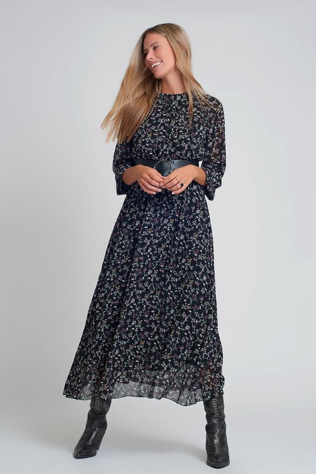 Lange jurk van chiffon met pofmouwen en riem in zwarte bloemenprint