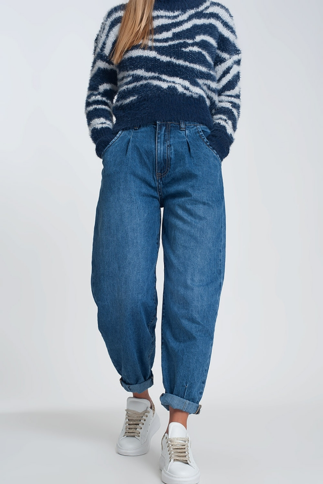 Mom jeans met hoge taille en twee ruches in de taille in dark wash blue
